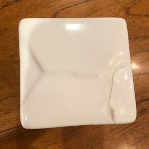 Threshold Accents - White porcelain take out box canister.